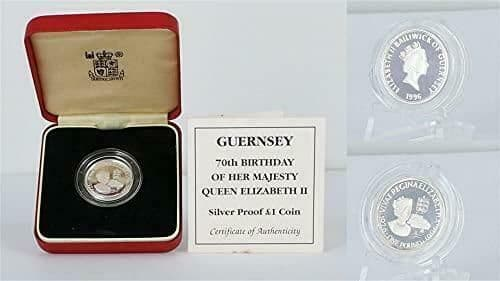 Guernsey 70th Birthday Of Her Majesty Queen Elizabeth II Silver Proof £1 Coin.